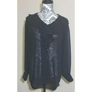 Black Long Sleeve Sheer Blouse